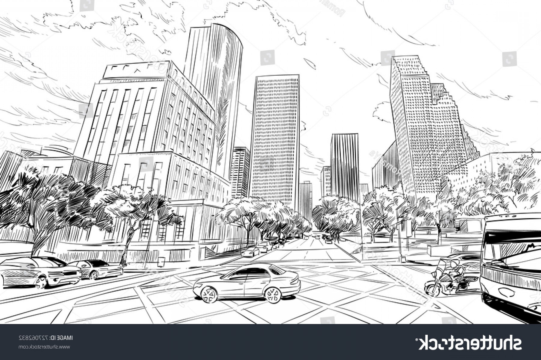 Texas Vector Drawing: Houston Texas Usa Hand Drawnunusual Street