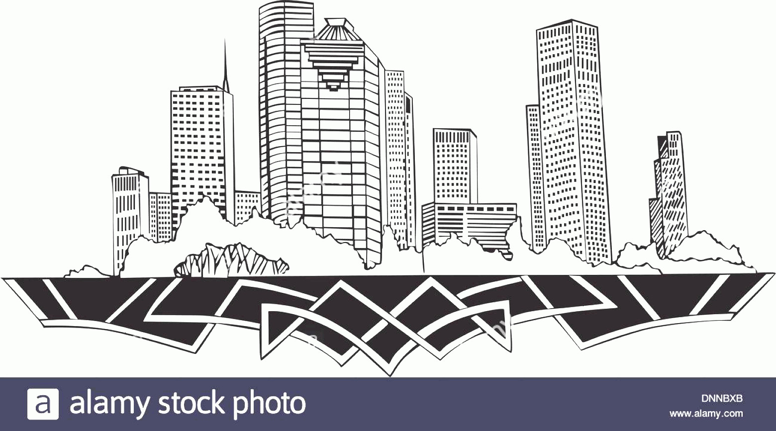 Vector Houston TX: Houston Tx Skyline Black And White Vector Illustration Eps Image