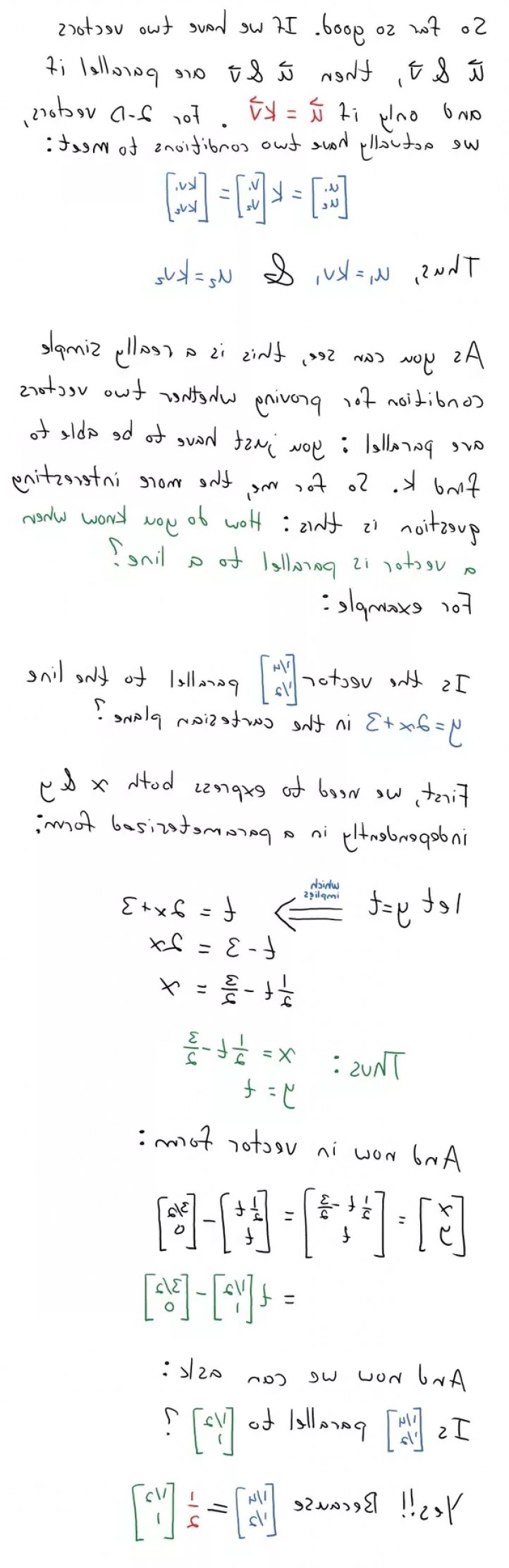 When Two Vectors Are Parallel: How Can I Determine Parallelity Of Two D Vectors