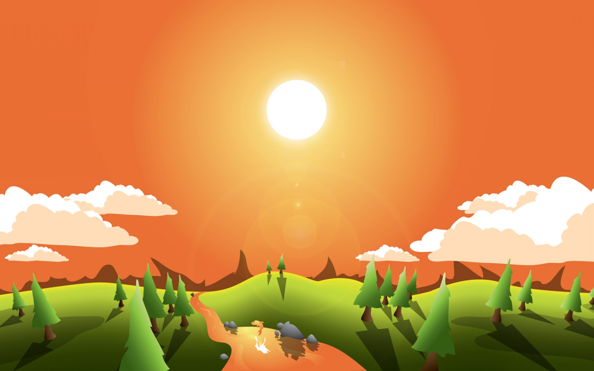 Vector Tut's Blends: How To Create A Landscape Wallpaper For Your Desktop Vector