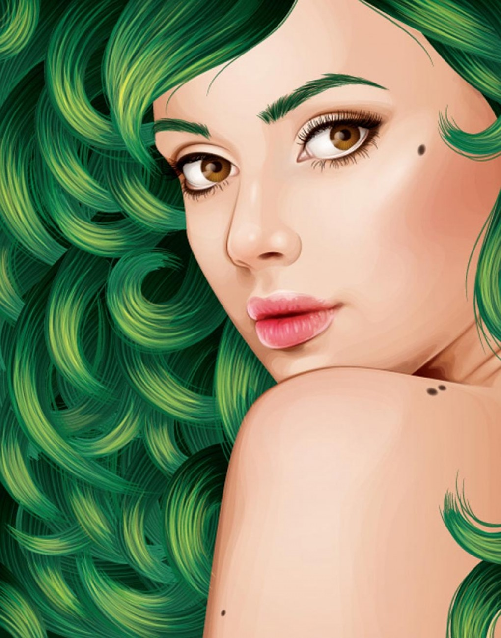 Vector Tut's Blends: How To Create A Vector Portrait With Curly Hair In Adobe Illustrator Vector