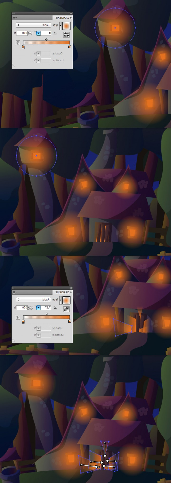Vector Tut's Blends: How To Create A Witchs House Scene With Gradients In Illustrator Vector