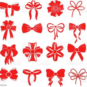 Present Bow Vector: Holiday Gift Christmas Bows Vector Set
