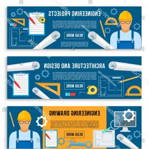 Engineer Scale Vector: Home House Engineering Planning Project Banners