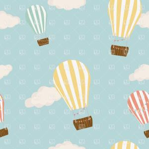 Balloons Vector Wallpaper: Hot Air Balloon Clipart Background