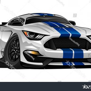 Large Car Vector Stripes: Hot Modern American Muscle Car Cartoon