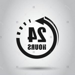 24 Hour Vector: Hours Clock Sign Icon In Flat Style Twenty Four Hour Open Vector Illustration On Isolated Background Timetable Business Concept Image