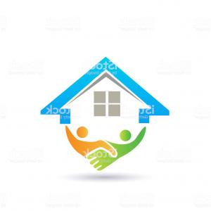 Vector Closing: House And Handshaking Vector Image Concept Of Closing A Successful Business Id Card Gm