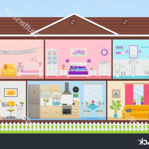 Cartoon Interior Vector: House Interior Vector Cartoon Cross Section