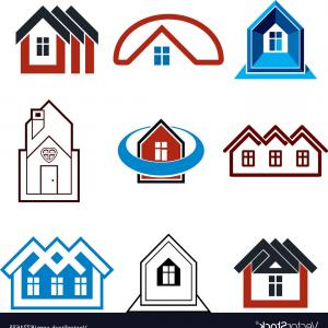 Simple Vector Buildings: Houses Abstract Icons Set Of Simple Buildings Vector