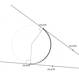 Position Vector Of A Circle Formula: How To Calculate The Two Tangent Points To A Circle With Radius R From Two Lines