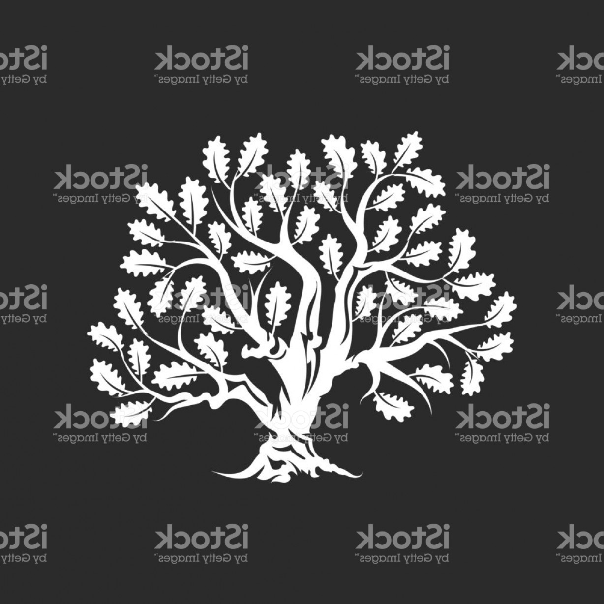 Oak Tree Silhouette Vector Graphics: Huge And Sacred Oak Tree Silhouette Icon Badge Isolated On Dark Background Gm