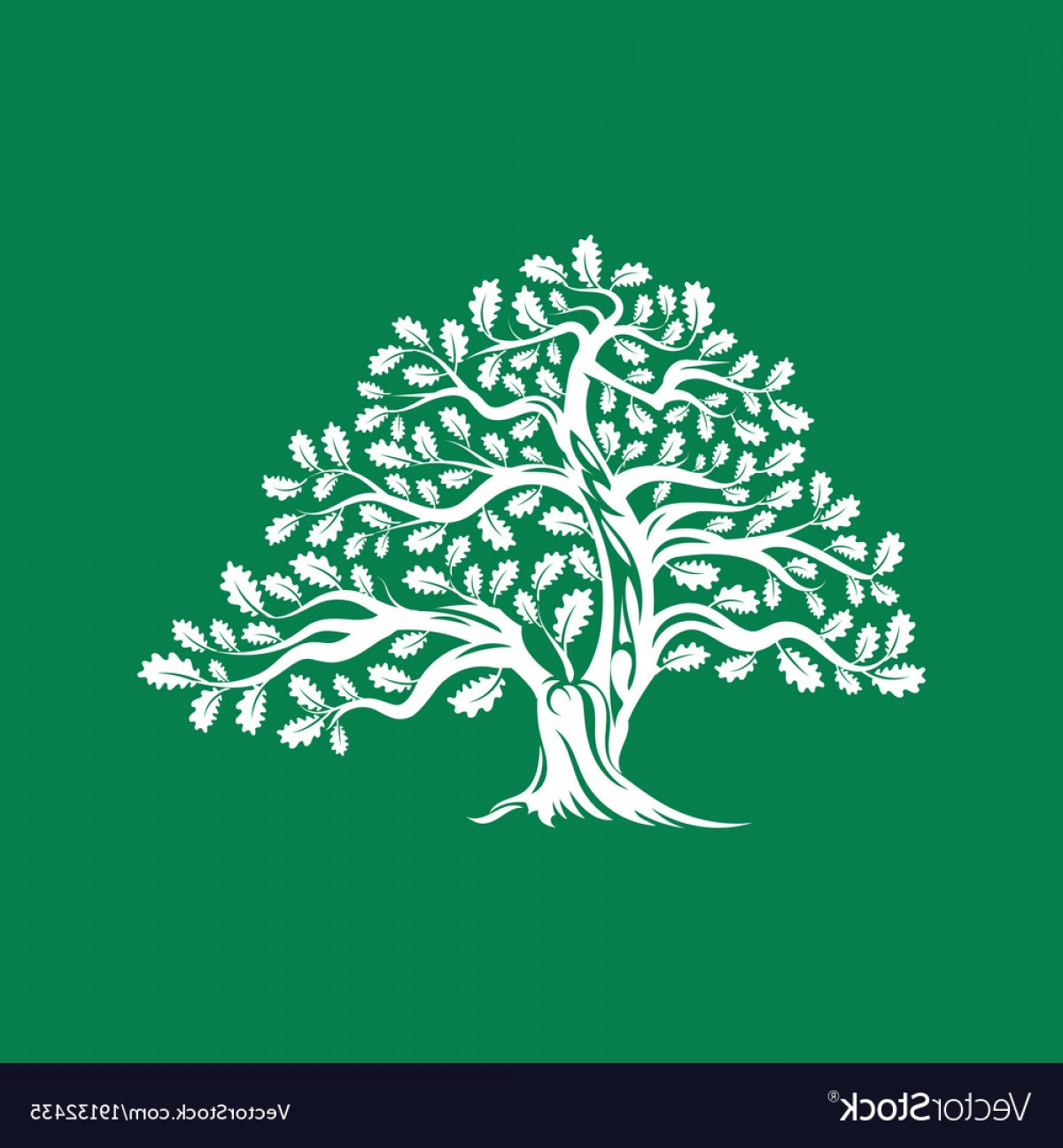 Oak Tree Silhouette Vector Graphics: Huge And Sacred Oak Tree Silhouette Logo Badge Vector