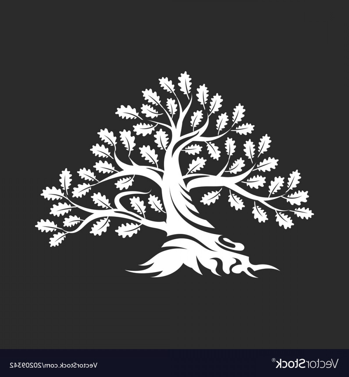 Oak Tree Silhouette Vector Graphics: Huge And Sacred Oak Tree Silhouette Logo Vector