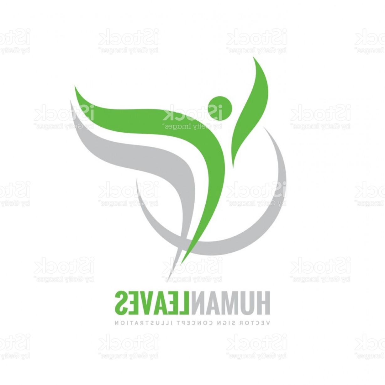 Health Vector Logo: Human Character Green Leaves Vector Logo Concept Illustration Health Positive Symbol Gm