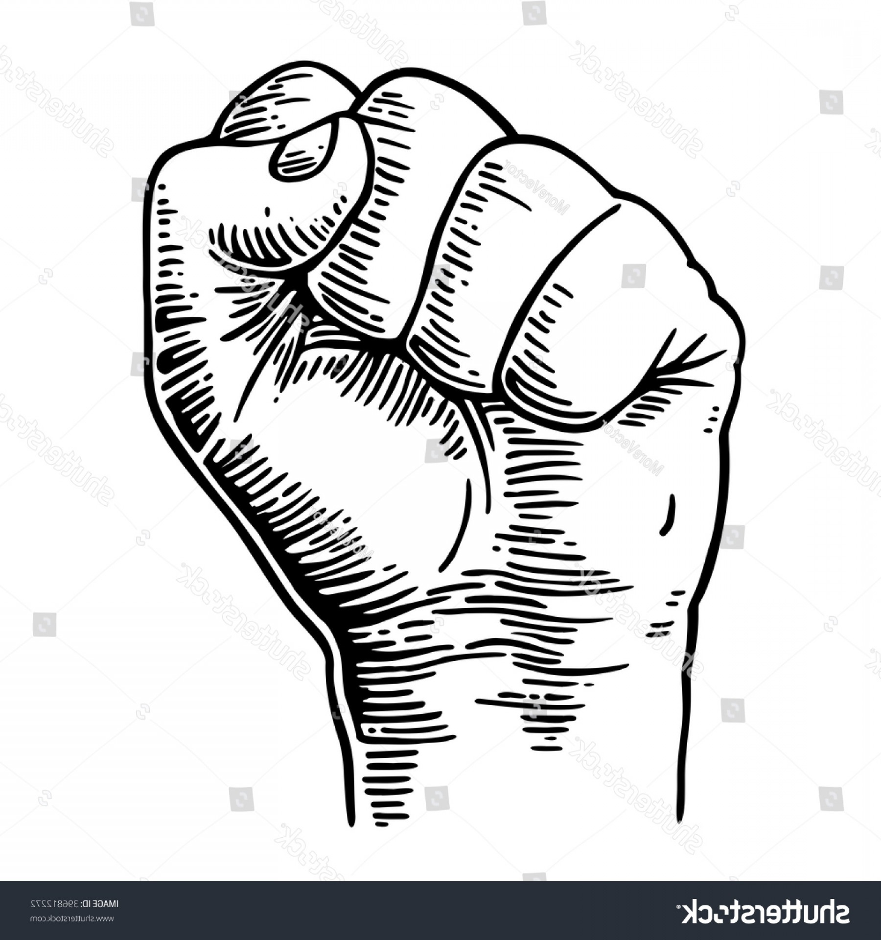 Hand Fist Vector: Human Hand Clenched Fist Vector Black