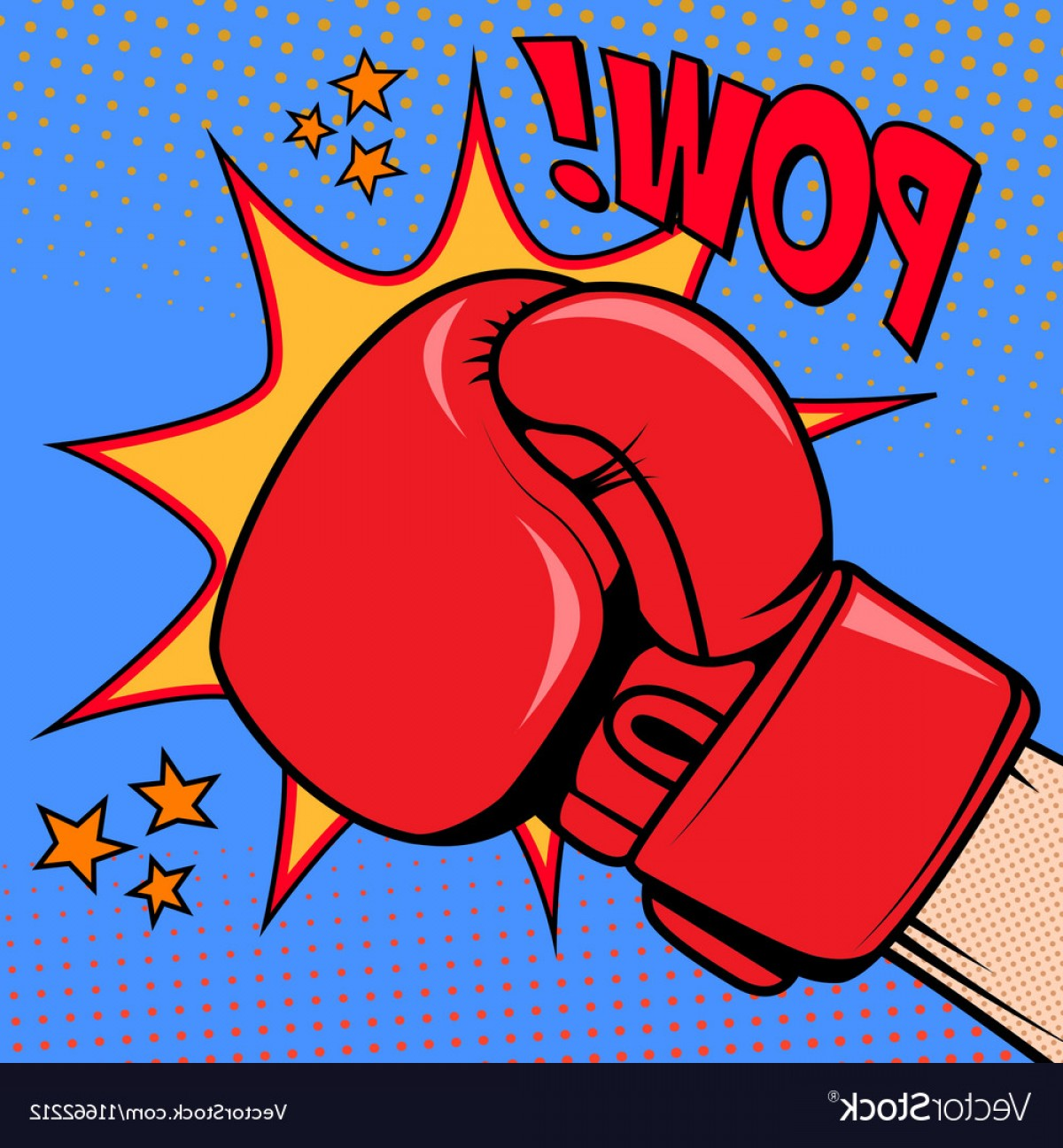 Boxing Gloves Vector Clip Art: Human Hand In Pop Art Style With Boxing Glove Pow Vector