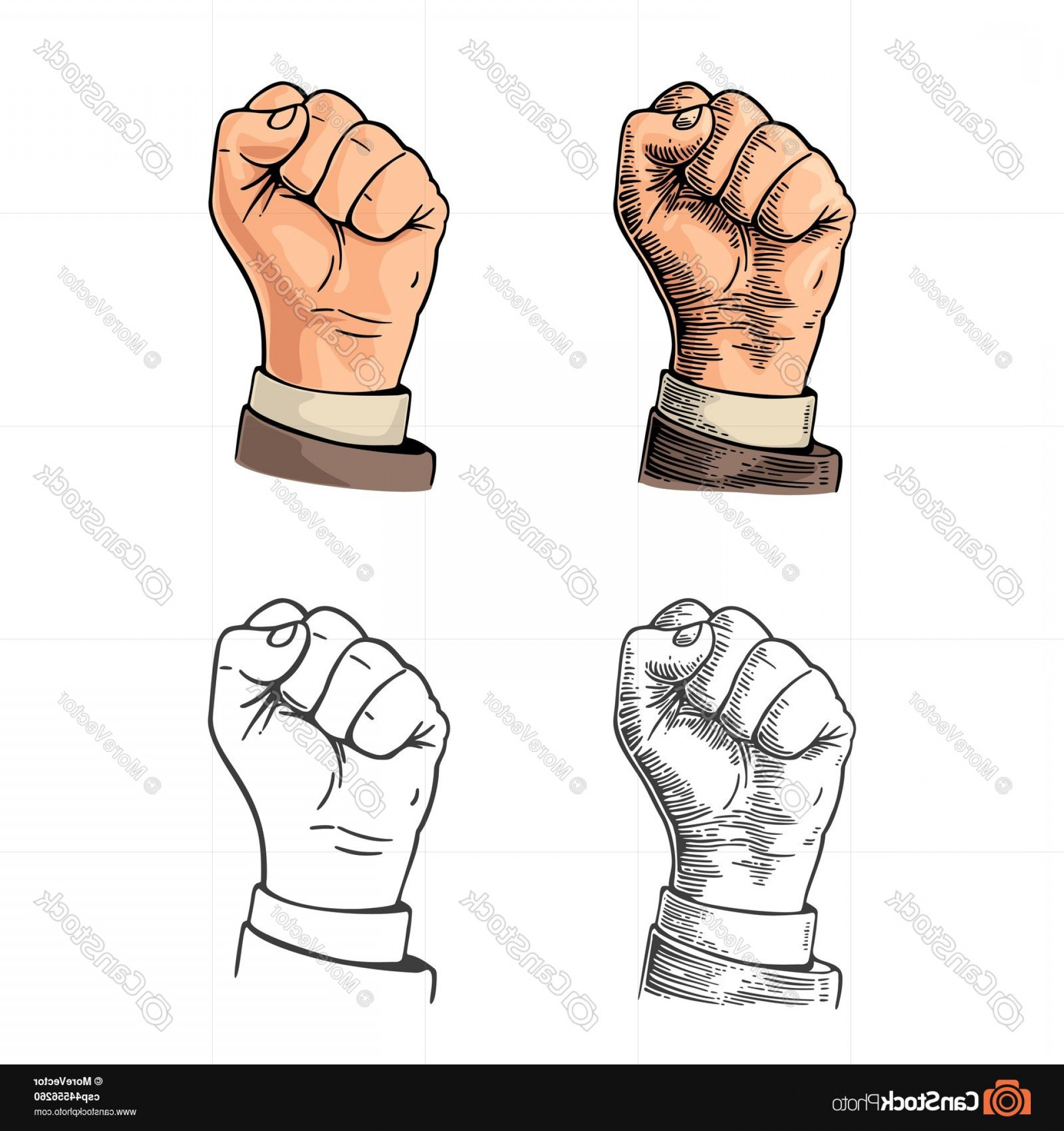Hand Fist Vector: Human Hand With A Clenched Fist Vector