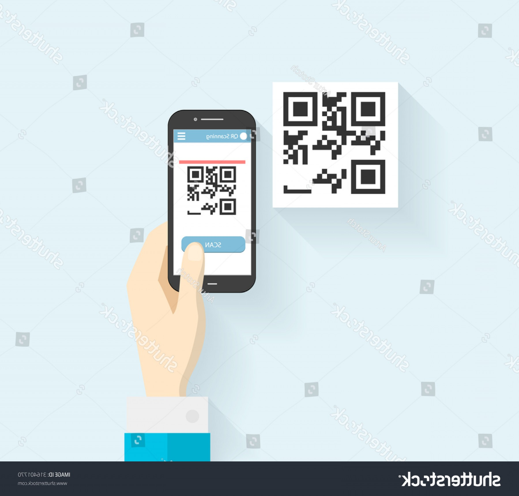 QR Mobile Phone Vector: Human Hands Mobile Phone Scanning Qrcode