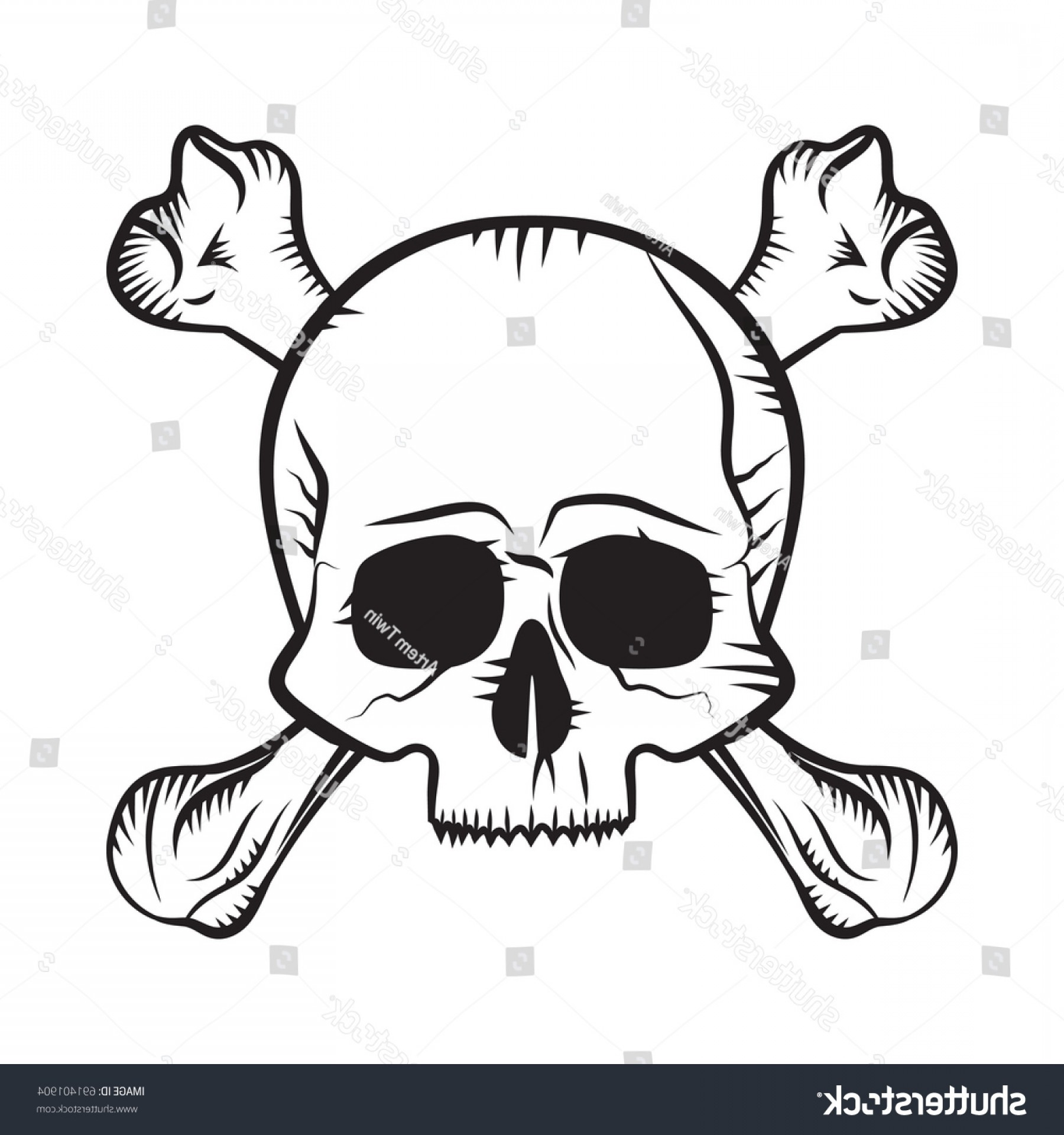Skull ND Crossbones Vector: Human Skull Crossbones Drawing Like Pirates