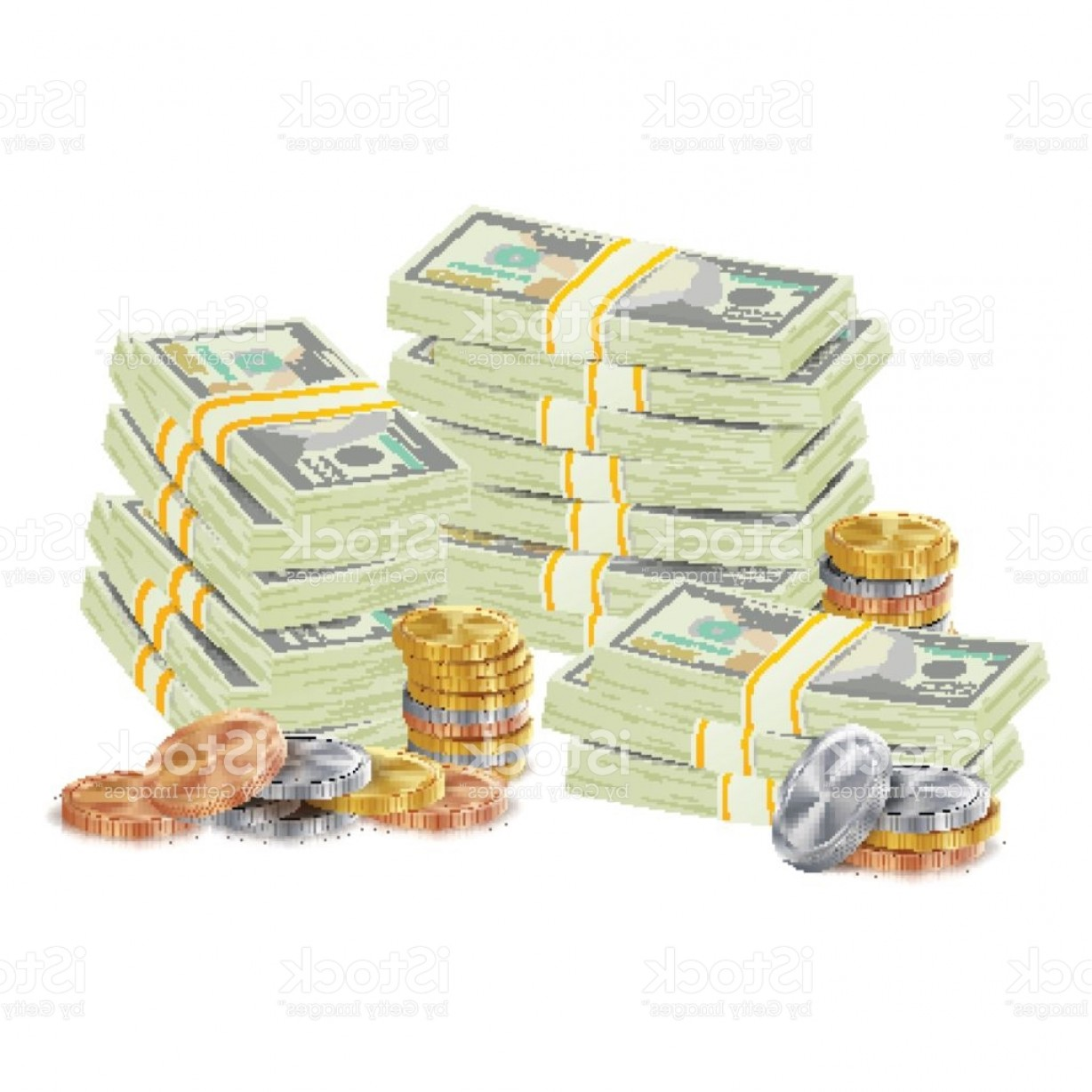 Hundreds Of Money Stacks Vector: Hundreds Dollars Vector Packing In Bundles Of Bank Notes Bills Gold Coins Cartoon Gm