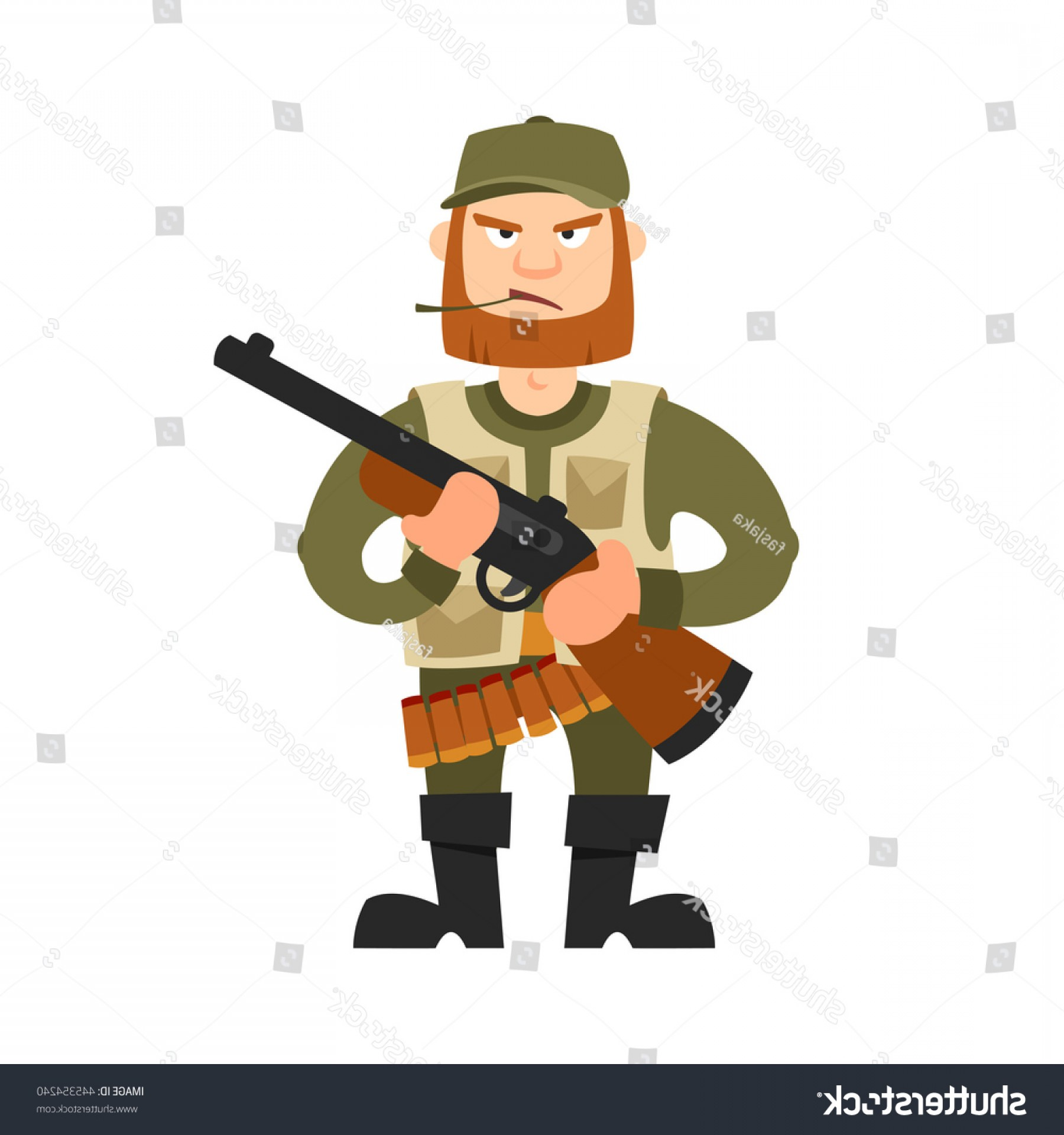 Vector Rifle And Boots: Hunter Illustration Isolated On White Background