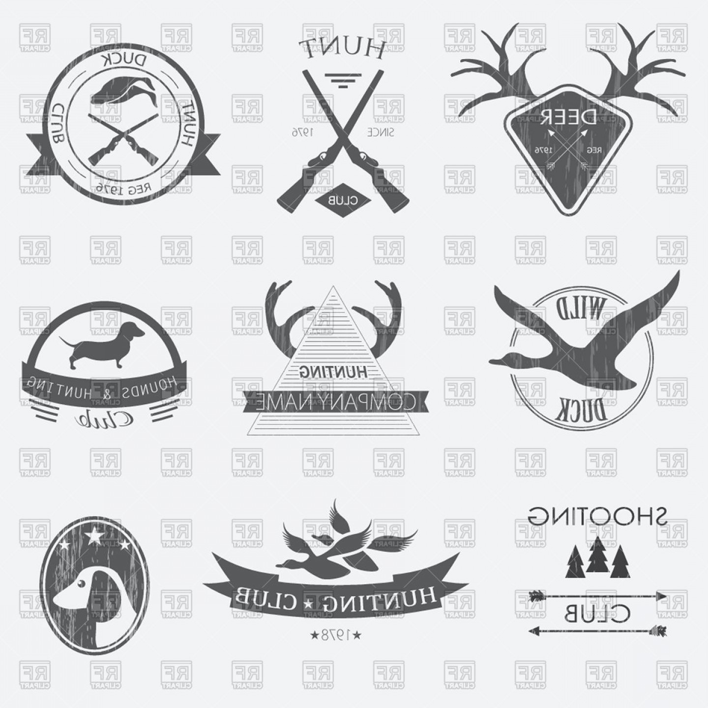 Vector Clip Art Hunting: Hunting Emblems And Design Elements Vector Clipart