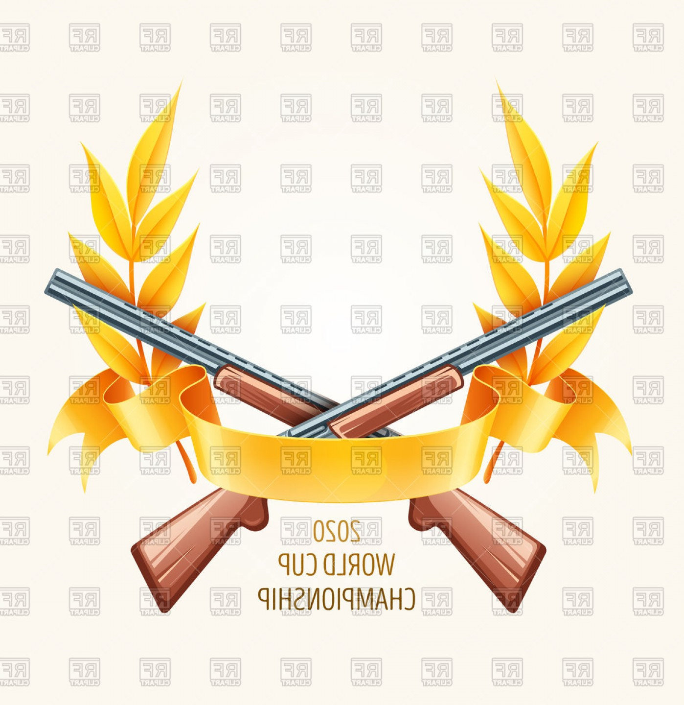 Hunting Rifle Vector Cross: Hunting Or Shooting Emblem Cross Rifles With Laurel Branches Vector Clipart