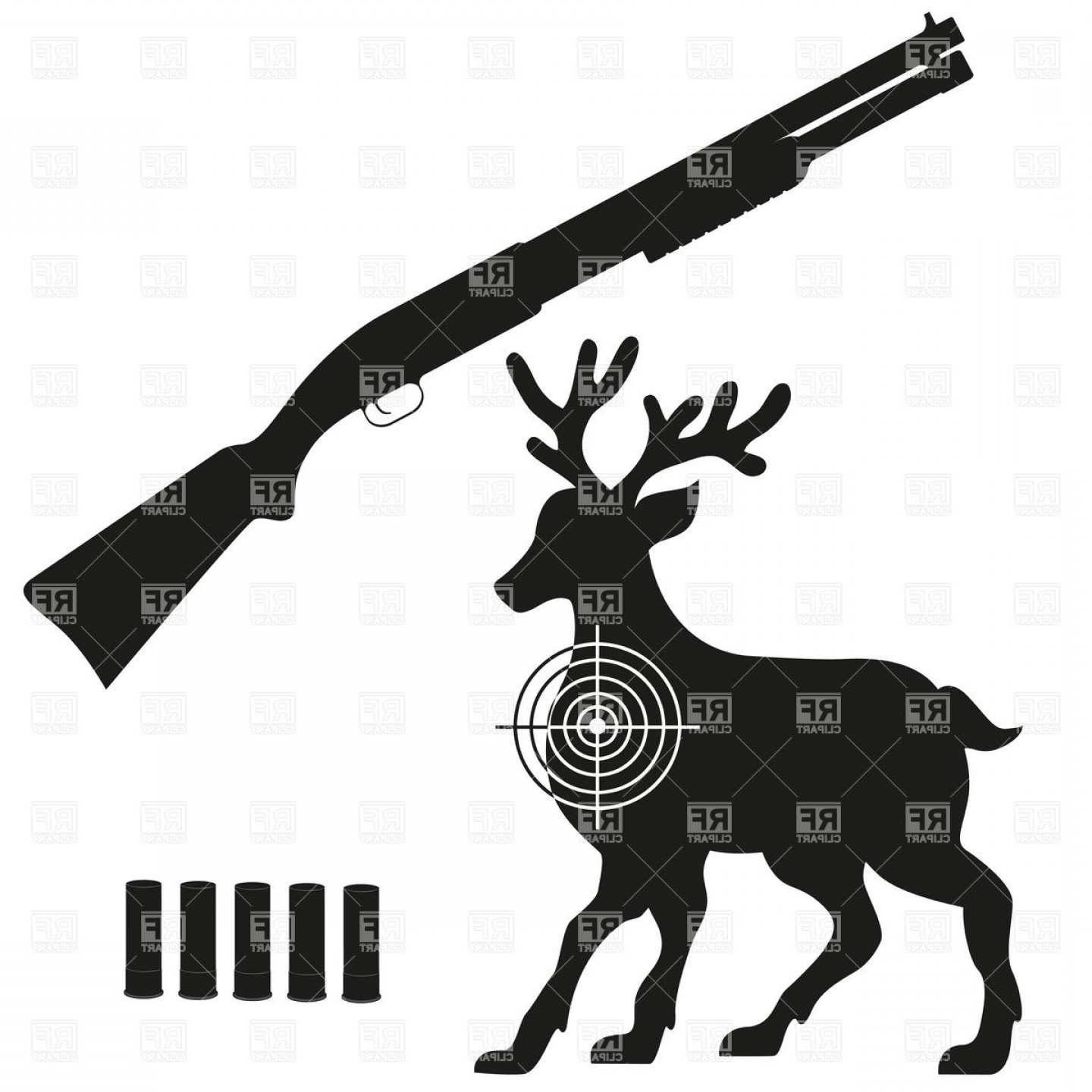 Vector Clip Art Hunting: Hunting Shotgun Aimed On Deer Black Silhouette Vector Clipart