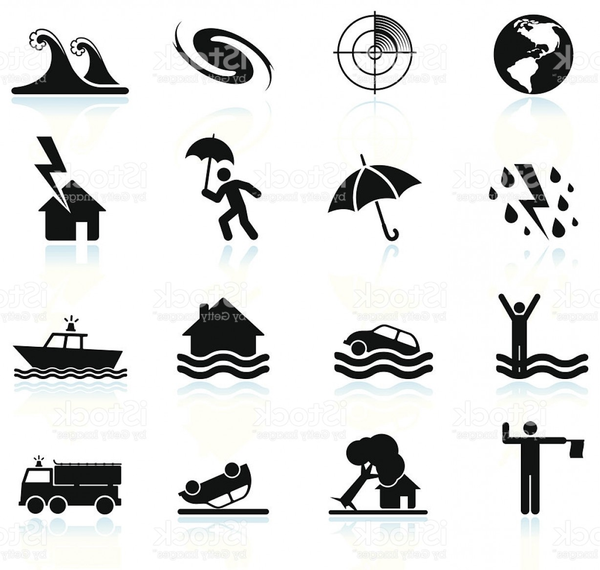 Hurricane Vector Art: Hurricane And Tropical Storm Black White Vector Icon Set Gm