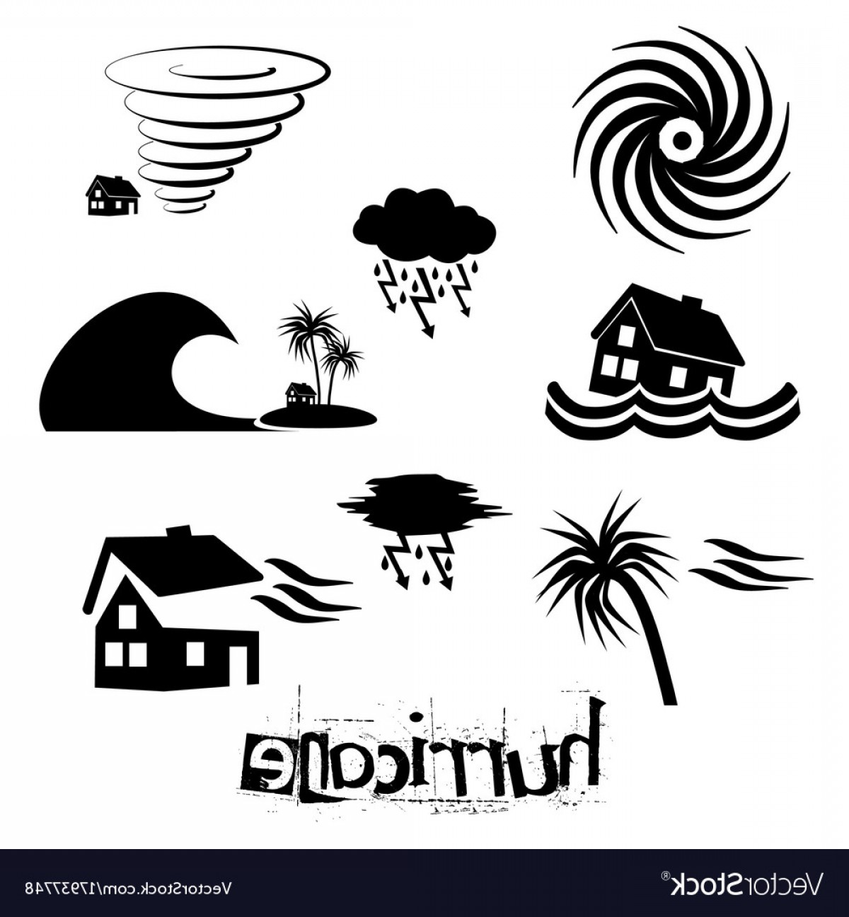 Hurricane Vector Art: Hurricane Natural Disaster Problem Icons Set Eps Vector