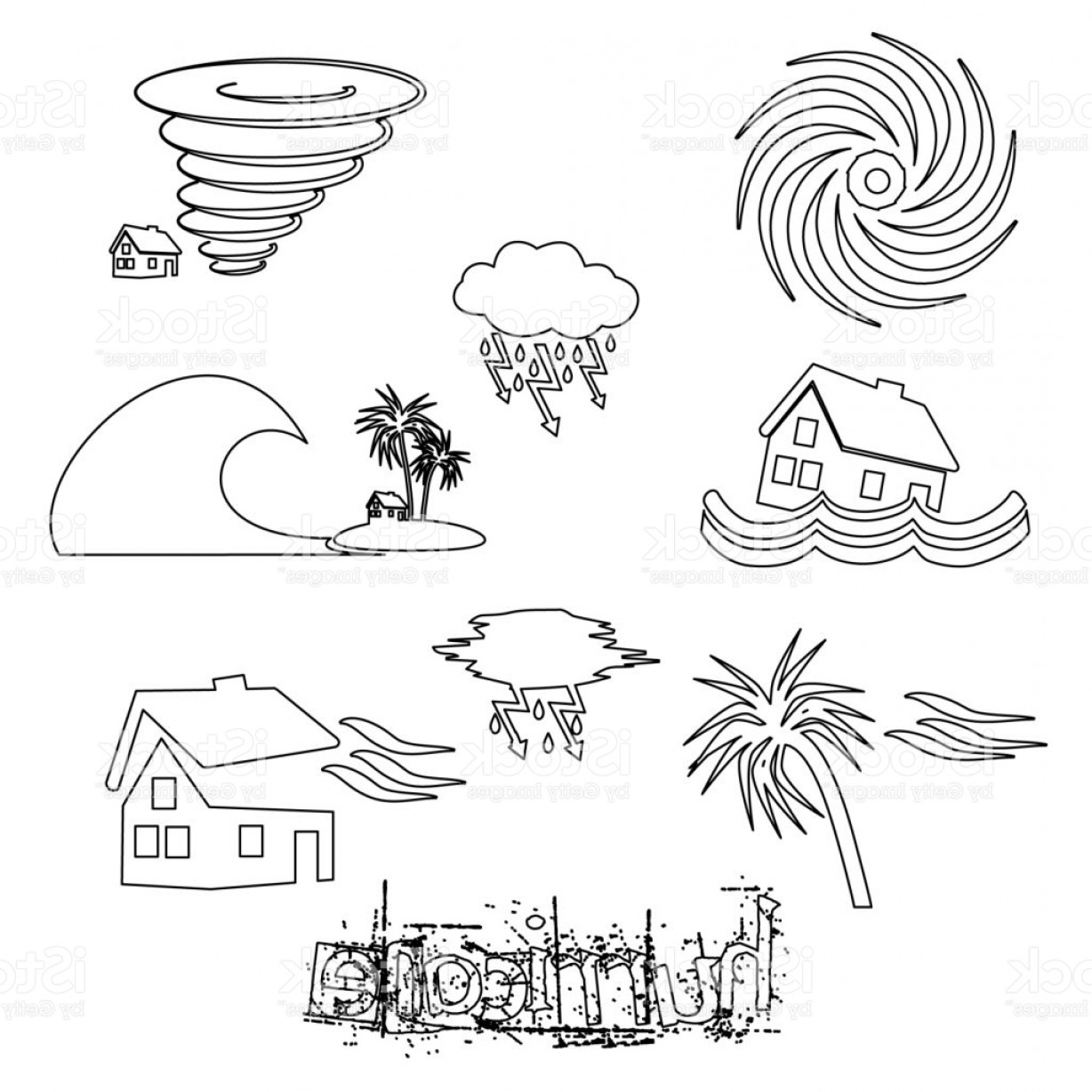 Hurricane Vector Art: Hurricane Natural Disaster Problem Outline Icons Set Eps Gm