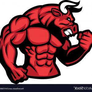 Red Bull Can Vector: Aggressive Angry Red Bull Man Mascot Running Upright