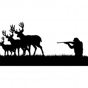 Rocky Mountain Elk Vector Art: Hunting Deer Elk Gun Aiming Rifle Rocky