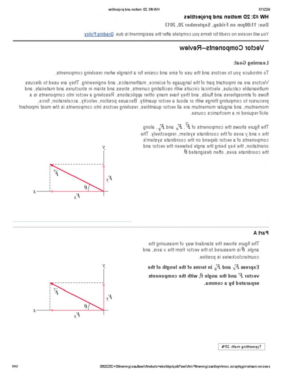 Physics Displacement Vector Of Angel: Hw D Motion And Projectiles Mastering Physics Answers