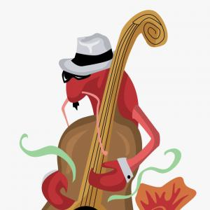 Crawfish Vector: Hwhxrxicrawfish Playing Bass Free Vector Clip Art Crawfish