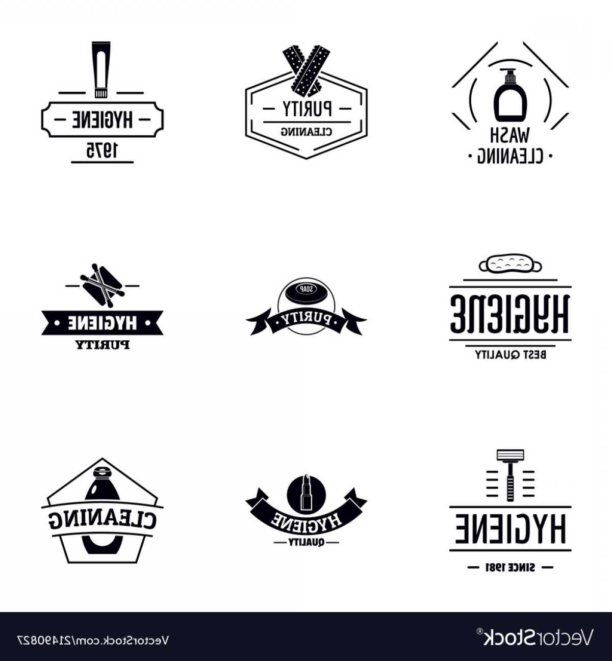 Cleaning Logo Vector Art: Hygienic Cleaning Logo Set Simple Style Vector