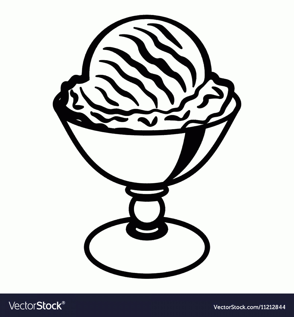 Black Cup Ice Cream Vector: Ice Cream Ball In Cup Icon Outline Style Vector