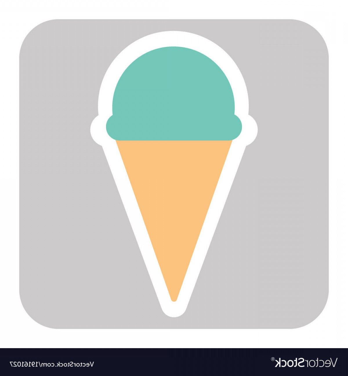 Snow Cone Vector Free: Ice Cream Cone Icon Isolated On Background Vector