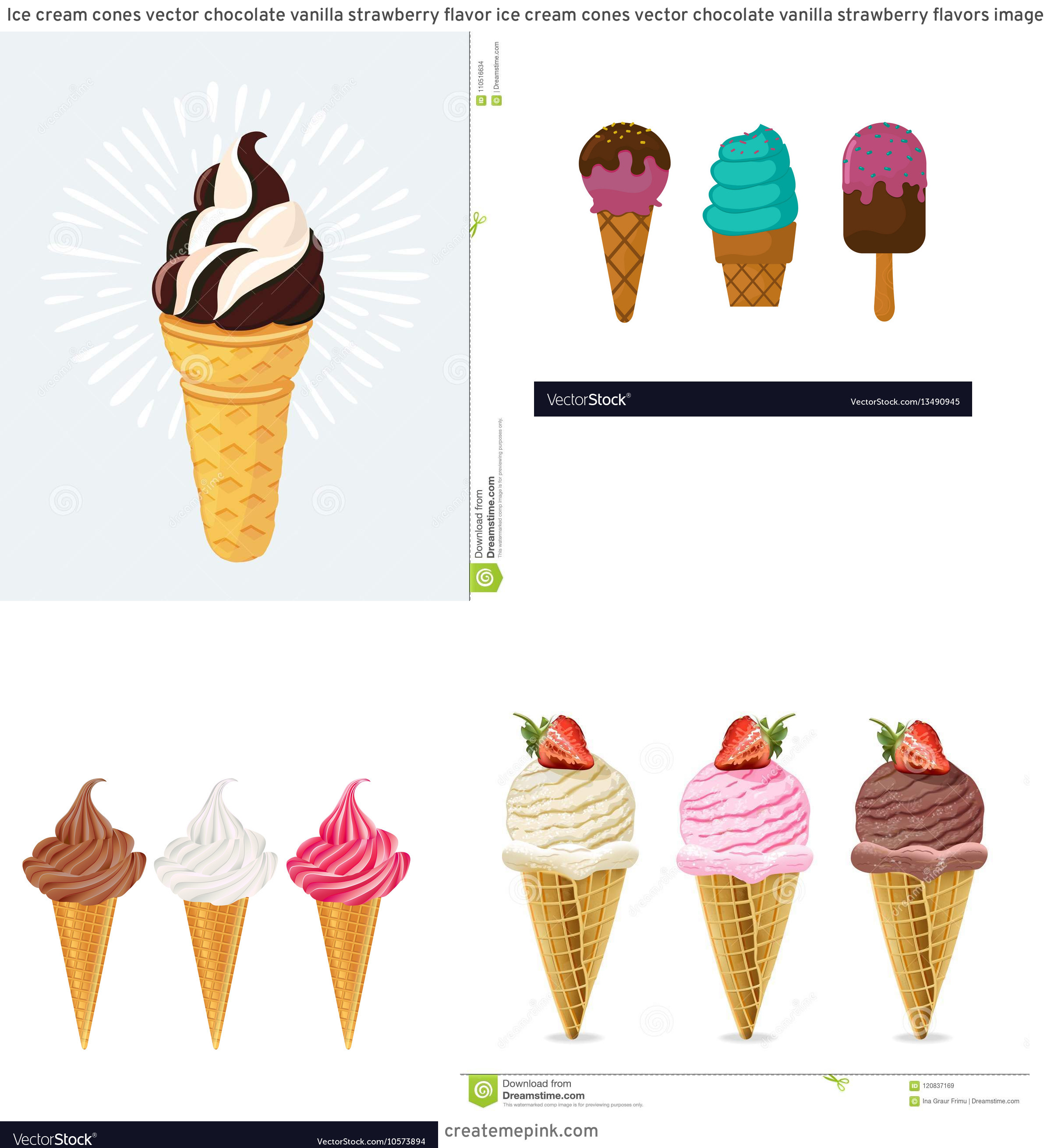 Vector Chocolate Vanilla: Ice Cream Cones Vector Chocolate Vanilla Strawberry Flavor Ice Cream Cones Vector Chocolate Vanilla Strawberry Flavors Image