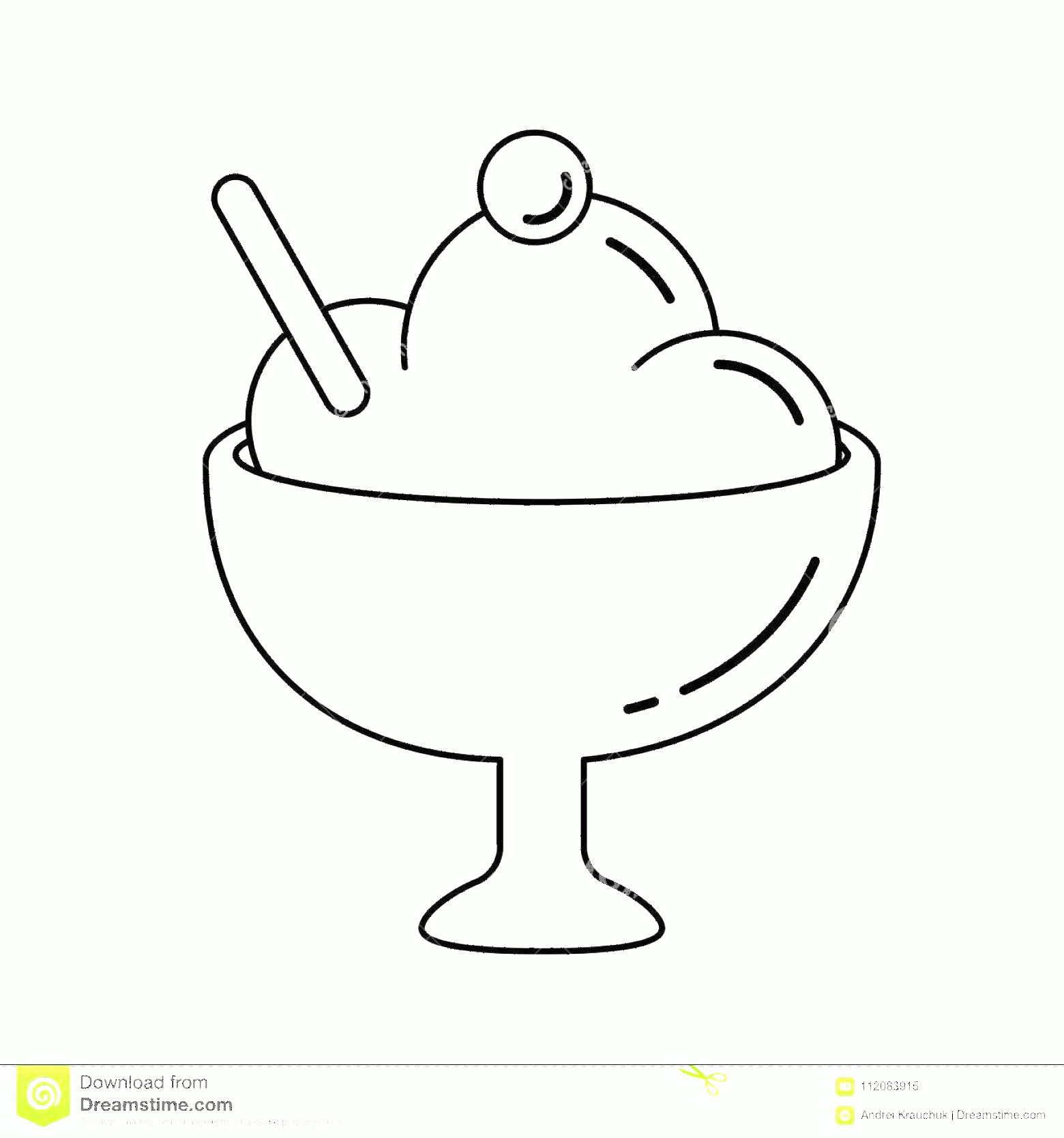 Black Cup Ice Cream Vector: Ice Cream Vector Line Icon Ice Cream Vector Line Icon Isolated White Background Cup Decorated Ice Cream Sorbet Line Icon Image