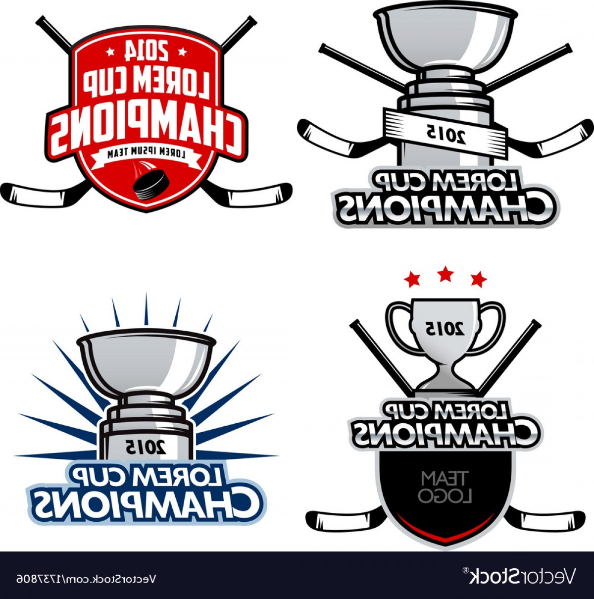 Ice Champions Cup Vector: Ice Hockey Cup Champions Labels And Emblems Vector