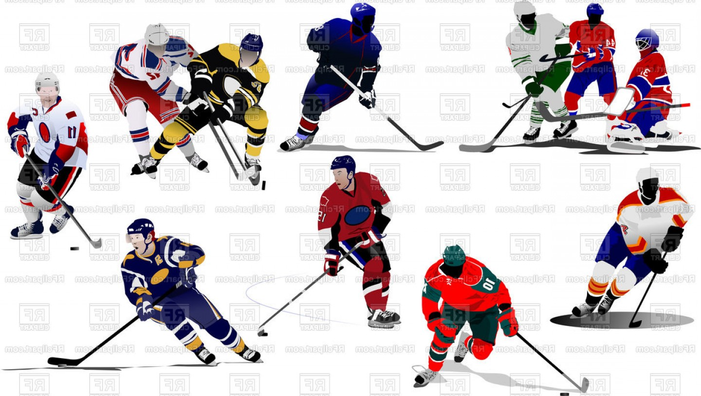Hockey Player Silhouette Vector: Ice Hockey Players In Motion Vector Clipart