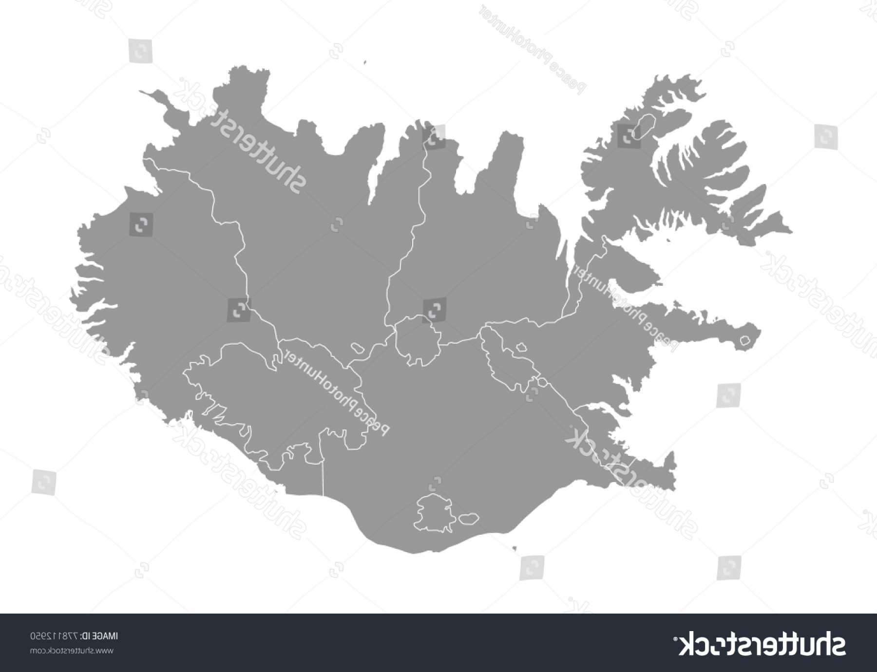 Pepsi Peace Signs Vector: Iceland Map High Detailed Vector Countiesregionsstates