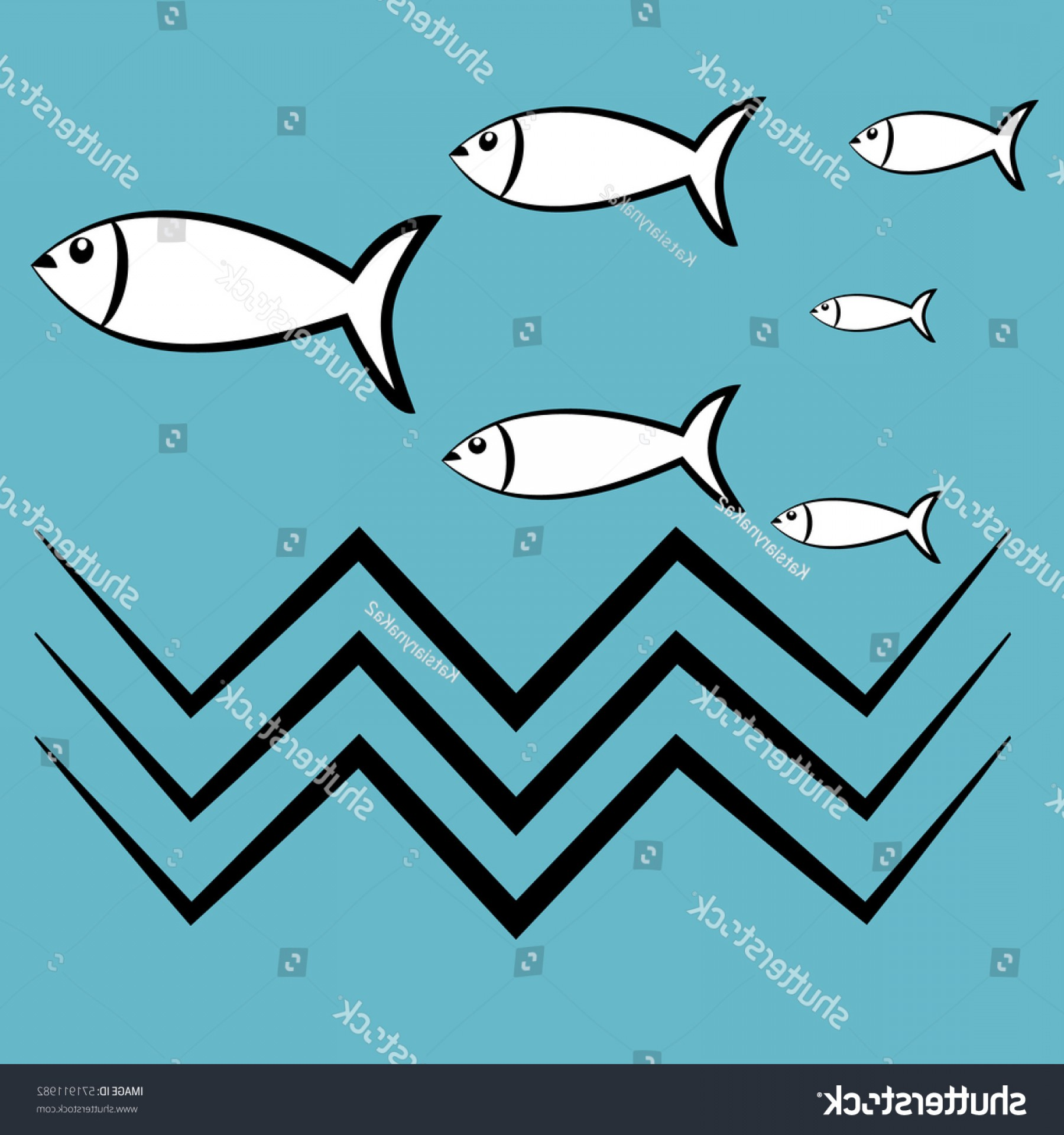 Spawn Vector: Icon Floating Fish Spawn Vector Illustration