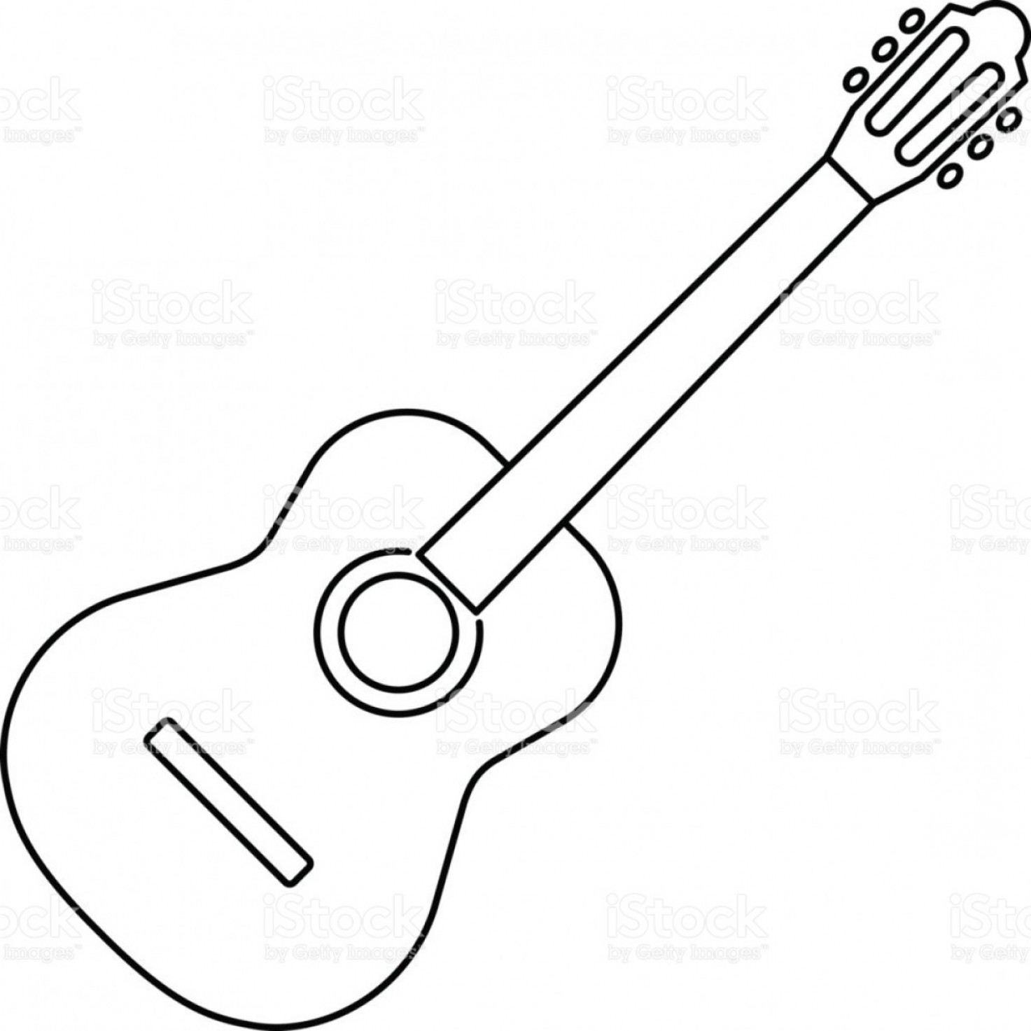 Vector Guitar Clip Art Black And White: Icon Of Acoustic Guitar Icon Black Contour On White Background Of Vector Illustration Gm