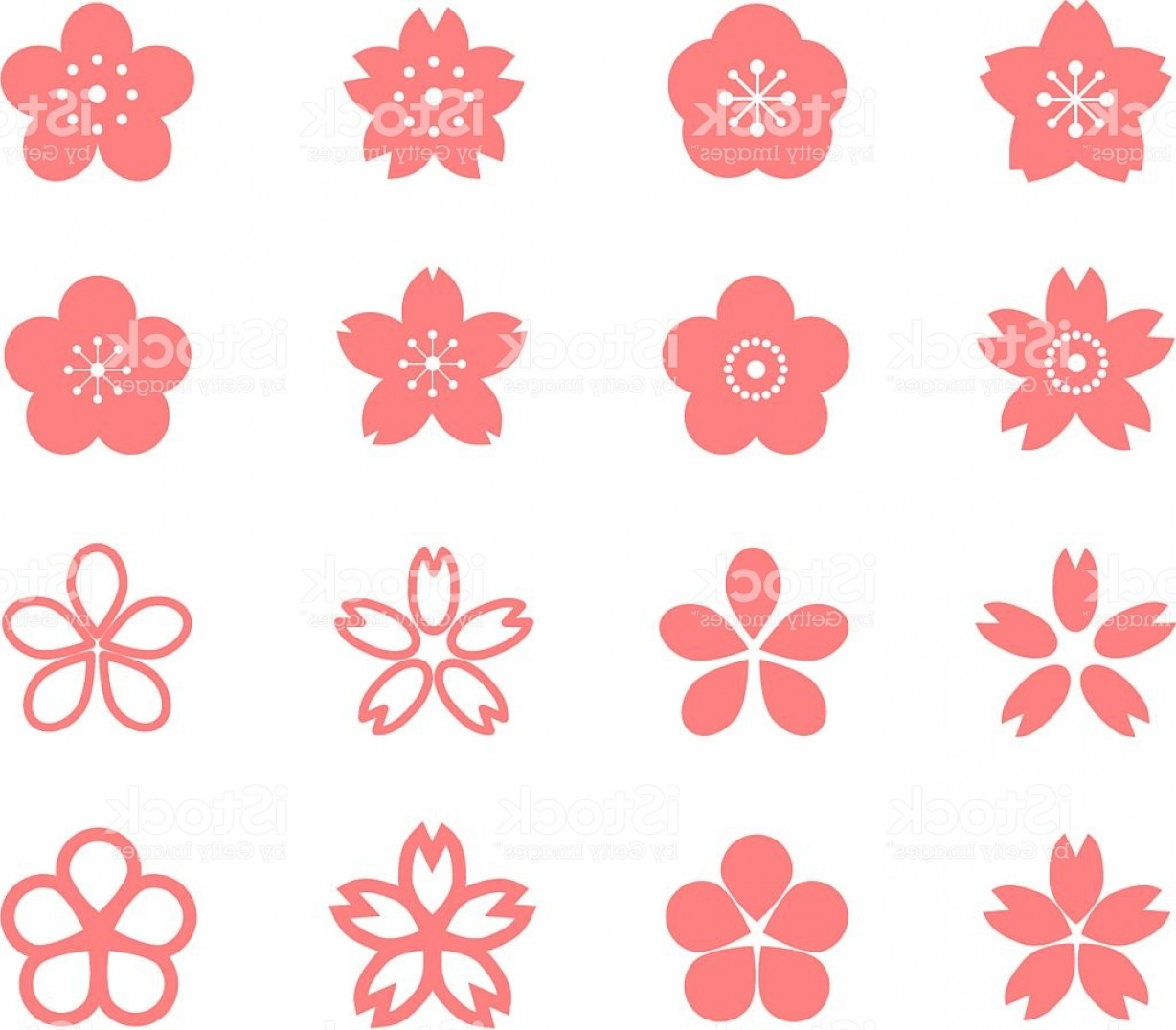 Icon Of Flower Vectors: Icon Of Cherry Blossom Gm