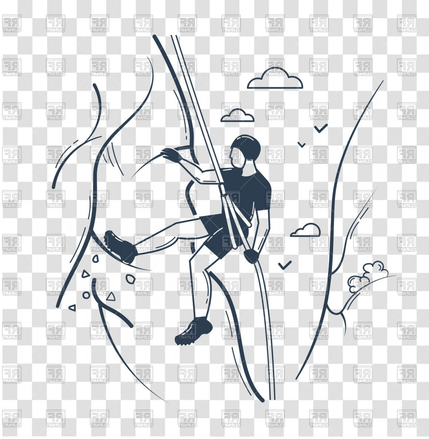 Climbing Silhouette Vector Art: Icon Of Climber Man Climbing A Mountain Vector Clipart