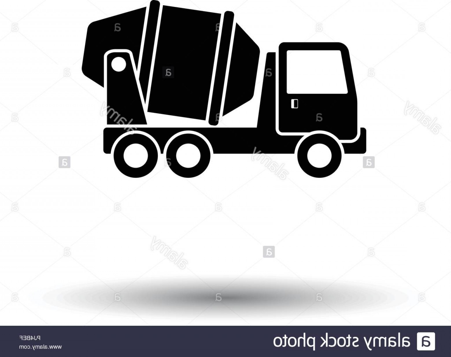 Vector Concrete Truck: Icon Of Concrete Mixer Truck White Background With Shadow Design Vector Illustration Image