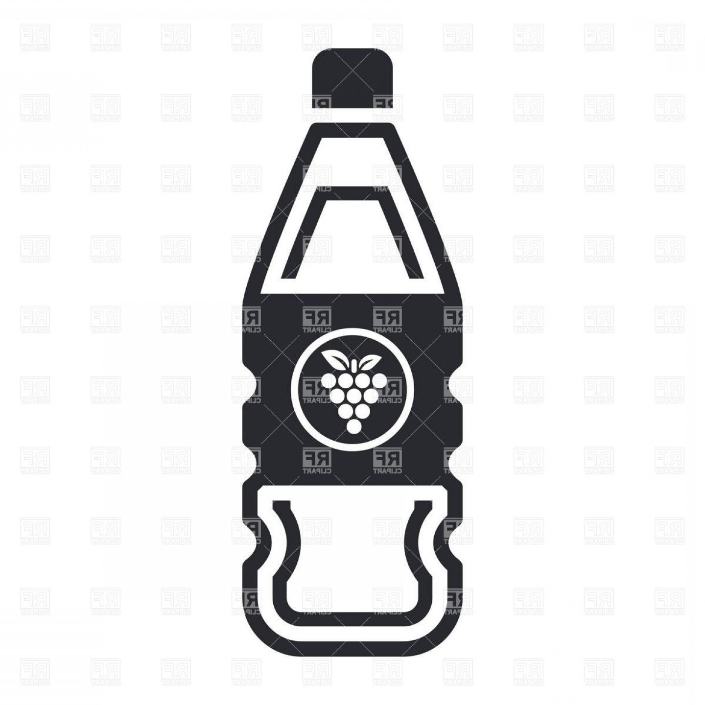 Juice Vector Black: Icon Of Plastic Bottle Of Grapes Juice Vector Clipart